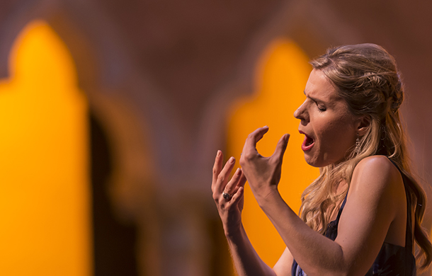 Georgia Jarman, soprano, performs in Rigoletto by Giuseppe Verdi in the Venetian Theater at Caramoor in Katonah New York on July 19, 2014. (photo by Gabe Palacio)