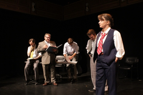 Berry Newkirk, Greg Paroff, Paul Gibson, Maxwell Greger and Josephine Hall in a scene from CONFIDENCE Sept 2018.JPG