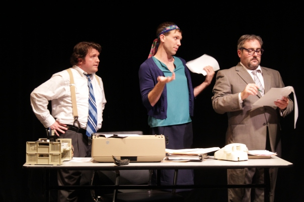 Nathaniel Gillespie, Jonathan Hoskins and Greg Parroff in a scene from CONFIDENCE Sept 2018